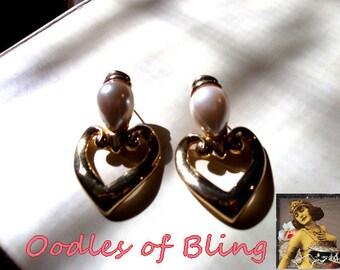 Pearl Heart Pierced Dangle Earrings Vintage Designer Jewelry