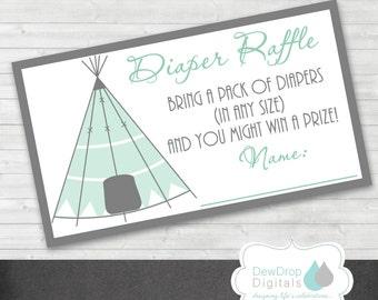 TeePee Baby Shower Diaper Raffle Ticket INSTANT DOWNLOAD Card Matching Digital DIY printable Arrow Tribal Boho