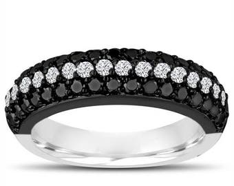ON SALE Half Eternity Ring Fancy Black & White Diamonds Wedding Band 14k Black And White Gold Vintage Style 3 Rows Pave Unique 0.84 Carat