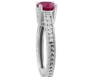 ON SALE Ruby & Diamond Engagement Ring 0.64 Carat Style 14k White Gold Antique Style Engraved Certified Handmade