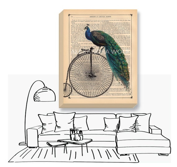 Canvas Print with Peacock - Bicycle Canvas Wrap - Bike Bird Gallery Wrapped Canvas - Peacock Art Canvas - Peacock Print on Canvas