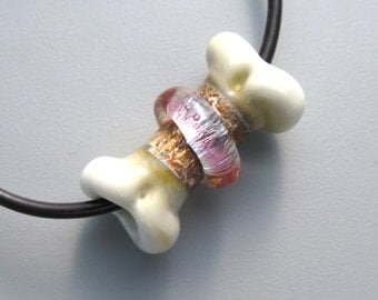 Glass Bone Bead PINK handmade lampwork on black cord and gift box