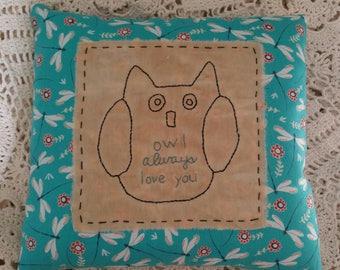 Prim Stitchery Owl Love Pillow ~OFG
