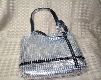 1996 Y and S Original Silver and Black Mesh Small Handbag.