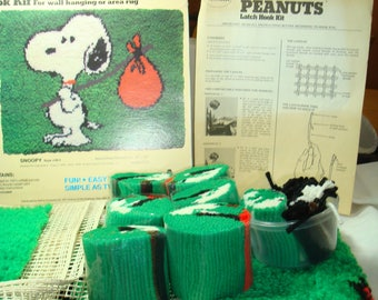 1958 Vintage New PEANUTS Snoopy Malina Brand Latch Hook Rug Kit for Wall Hanging or Area Rug.