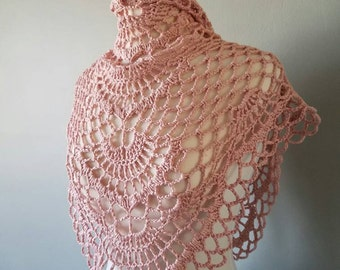 Flamingo crochet pink shawlette, wrap, cotton/acrylic blend, lace, gift, small neckwarmer, summer wrap, bandana style, Made to order