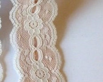 SALE, White Lace Ribbon with Peach Lame backing, Metallic Lame, 6 YARDS, 1.25 inch wide, Romantic, Feminine, Vintage Clearance Ribbon
