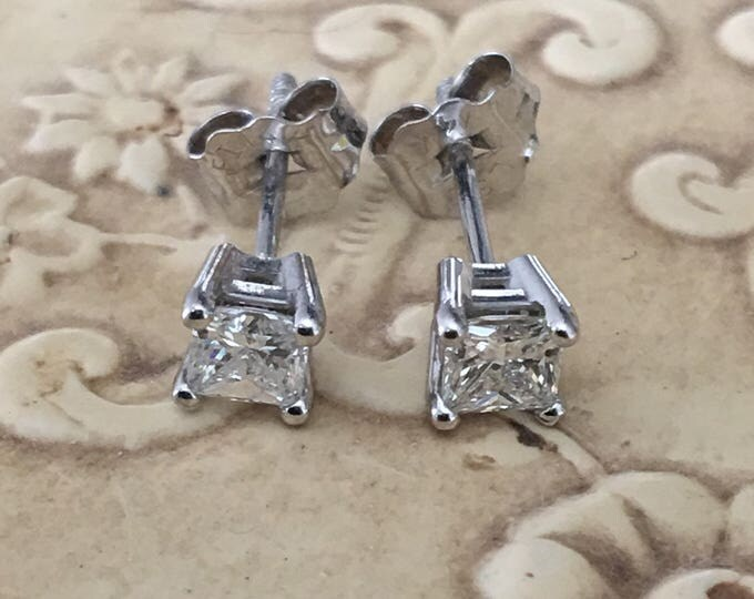 14K White Gold 3/8 ct Diamond Stud Earrings Gorgeous Vintage Princess Cut