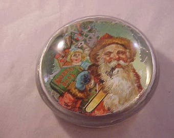 Glass Dome Paperweight - Lithograph Santa Claus Postcard