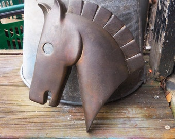 Vintage Trojan horse hanging aged brass light lamp supplies Art Deco equestrian wall mount