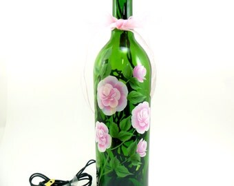 Lighted Wine Bottle Pink Roses MADE TO ORDER Hand Painted 750 ml