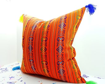 Cinco de Mayo pillow cover 20x20, Bohemian Decor, Boho Bedding, Orange Cushion, Mexican Embroidery, Throw pillow, Tela Mexicana, Gift Ideas