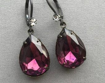 Rhinestone Earrings - Purple Earrings - Amethyst Earrings - Romantic Jewelry - Valentine Jewelry - Drop Earrings - Teardrop Earrings