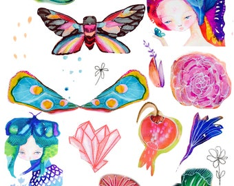 Instant Download - collage sheet, fairy, butterfly wings, mixed media art, flower images, fairy images, wings collage sheet, nature images