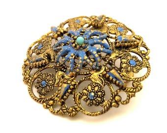 Brooch Vintage Enamel Fashion Blue Openwork Women Luxury France 1977 Year