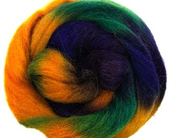 "Space Dyed Wool for Spinning or Felting ""Earth""  100 Grams"