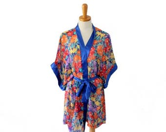 60% off sale // Vintage 80s Sheer Tropical Flower Robe - Women One Size fits Many