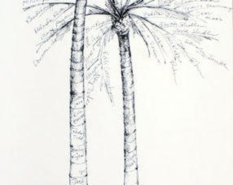 Reserved for melissalustbader, Alternative Wedding Guest Book with added names, Twin Palm Tree, Signature Tree kit w/pen
