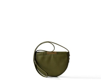 mini leather saddle bag OPELLE Micro Meena cross body purse OLIVE