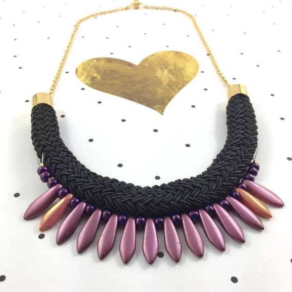 Ajustable necklace on gold color chain with purple pink gold beads and  on black braided polyester cord