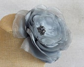 Oversized Flower Brooch/Clip Combo in Grey Satin & Organza