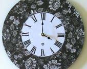 Wall clock. Unique wall clock. Flower clock. Large wall clock. Vinyl clock. Black and white clock.