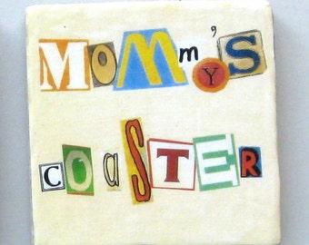 Single coaster. Coaster.  Coaster for a mother. Ceramic coaster. Baby shower gift. Coffee coaster.