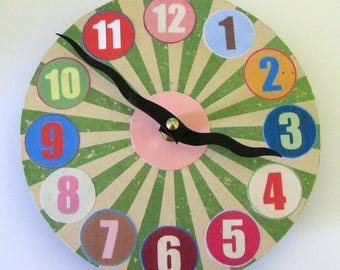 Wall clock. Small wall clock.  OOAK wall clock. Funky clock. Modern clock. Circus.  Kitchen clock.