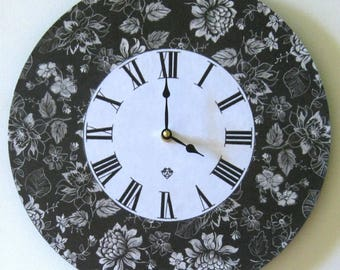 Wall clock. Unique wall clock. Flower clock. Large wall clock. Vinyl clock. Black and white clock.