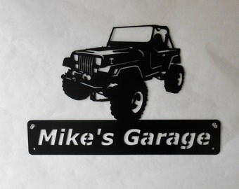 Jeep YJ Wrangler Personalized Man Cave Garage Sign Satin Black