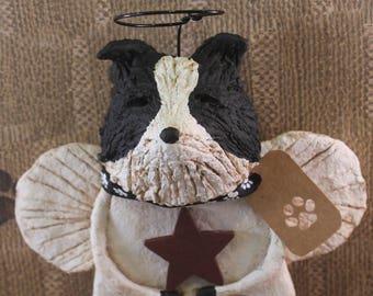 Border Collie Angel, OOAK, handmade from papier mache, BORDER COLLIE Figurine, Sheepdog Angel