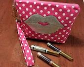 LipSense distributors wristlet bag, purse, pouch, pink, white. polk a dots,  Silver lips holds 20- 28 lipsticks and additional supplies