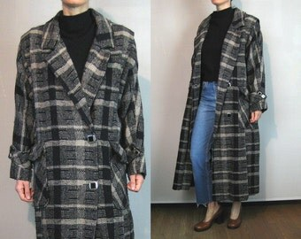 Oversized Sand + Black Plaid Woven Wool Menswear Coat
