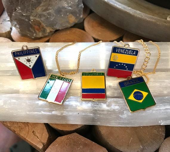 Vintage Enamel Flag Charm Necklace / Bracelet - You Choose the Country - Mexico - Venezuela - Columbia - Brazil - Philippines - Yugoslavia