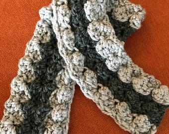Super Bulky Soft Blue Tweed Crocheted Scarf