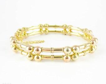 Victorian 14k Bangle Bracelet, Bar & Ball Bamboo Style Design. Antique Bracelet, Circa 1890s.