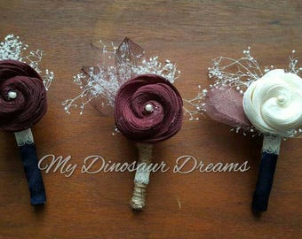 Sola boutonniere, wooden flower boutonniere, rustic boutonniere,  groom flowers,  shell flower, pin on corsage,  prom boutonniere
