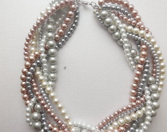 braided pearl necklace mauve grey blush statement necklace twisted necklace custom order necklaces