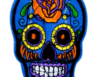 Blue Sugar Skull Patch Iron on Applique Calaveras Clothing Day of the Dead - YDS-PA-BSGS-Patch