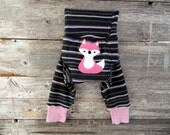 MEDIUM Upcycled Merino Wool Leggings Longies Soaker Cover Diaper Cover With Added Doubler Powder Girly Stripes With Fox Applique 6-12M