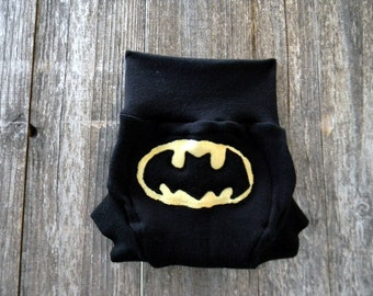 Upcycled Merino Wool Soaker Cover Diaper Cover With Added Doubler Black With Batman Applique MEDIUM 6-12M Kidsgogreen