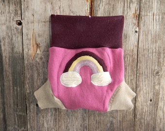 Upcycled Merino Wool Soaker Cover Diaper Cover With Added Doubler Pink/ Burgundy/ Cream  With Rainbow  Applique MEDIUM 6-12M Kidsgogreen