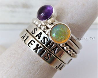 SET of 5 - Custom Name Sterling Silver Stacking and Any Birthstone. Ametyst. Opal. Birthstone Name rings. Gift for her. Birth stone. Family