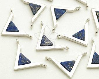 PD-1718-OR / 2 Pcs - Gemstone Metal Mix Pendant, Lapis Lazuli V Shape Sideways, Silver Plated over Brass / 18mm x 12mm
