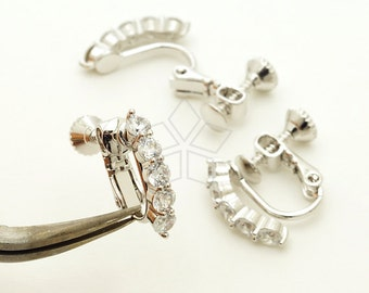 EA-204-OR / 6 Pcs - New CZ Screw Back Non Piercing Earring Findings, Clip On Earrings, Silver Plated over Brass / 16mm x 14mm