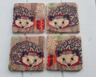 Funky Hedgehog Stone Coaster Set of 4 Tea Coffee Beer Coasters