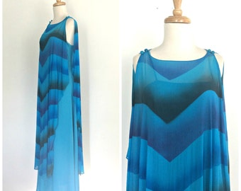 Vintage 70s Maxi Dress - Grecian Dress - chevron  - bohemian dress - blue wedding dress - bridesmaid - hippie chic - Medium