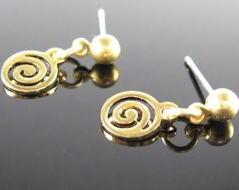 Gold petite swirl post earrings, surgical steel stud, tiny gold drop earrings, nickel free, simple earrings, small dangle post earrings