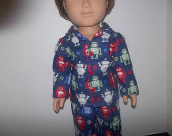 Robots 2 pc pajamas fits 18 inch my life asboy doll  or American girl doll