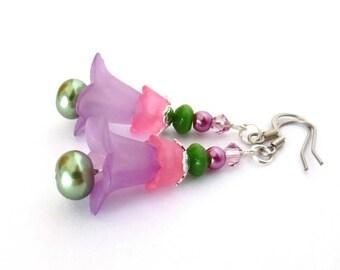 Purple Floral Earrings - Spring Earrings - Lavender/Pink /Green - Light Amethyst Swarovski Crystals - Pearls - Long Dangle Flower Earrings